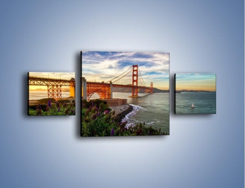 Obraz na płótnie – Most Golden Gate o zachodzie słońca – trzyczęściowy AM332W4