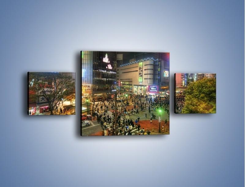 Obraz na płótnie – Zatłoczone ulice Toyko nocą – trzyczęściowy AM333W4