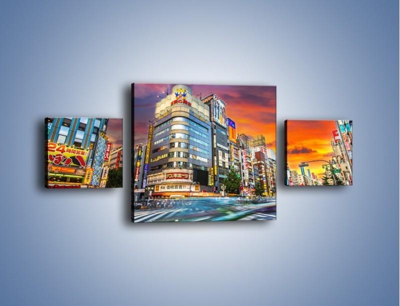 Obraz na płótnie – Tokyo na tle kolorowego nieba – trzyczęściowy AM336W4