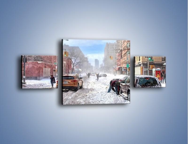Obraz na płótnie – Zaśnieżone ulice miasta – trzyczęściowy AM342W4