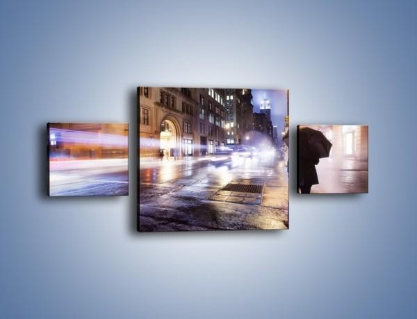 Obraz na płótnie – Deszczowa noc w Nowym Jorku – trzyczęściowy AM343W4