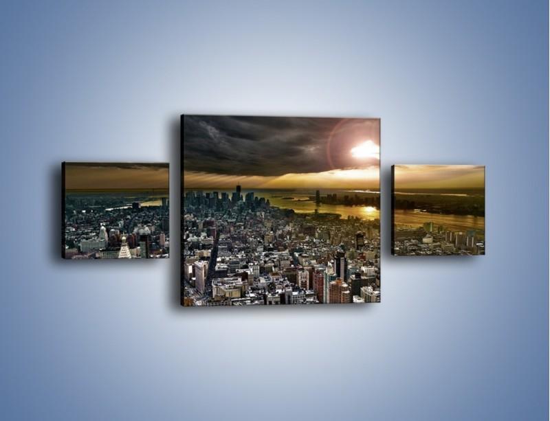 Obraz na płótnie – Czarne chmury nad Nowym Yorkiem – trzyczęściowy AM347W4
