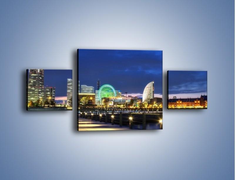 Obraz na płótnie – Rozświetlona Yokohama w nocy – trzyczęściowy AM355W4