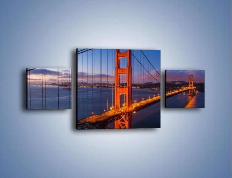Obraz na płótnie – Rozświetlony most Golden Gate – trzyczęściowy AM360W4