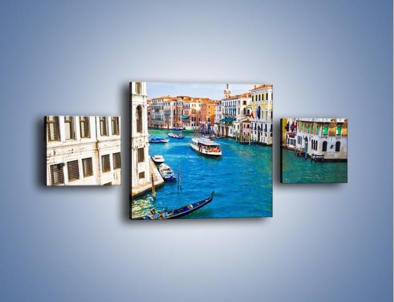 Obraz na płótnie – Kolorowy świat Wenecji – trzyczęściowy AM362W4
