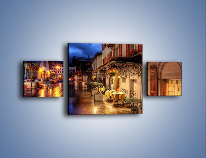 Obraz na płótnie – Romantyczne miasteczko pod Alpami – trzyczęściowy AM368W4