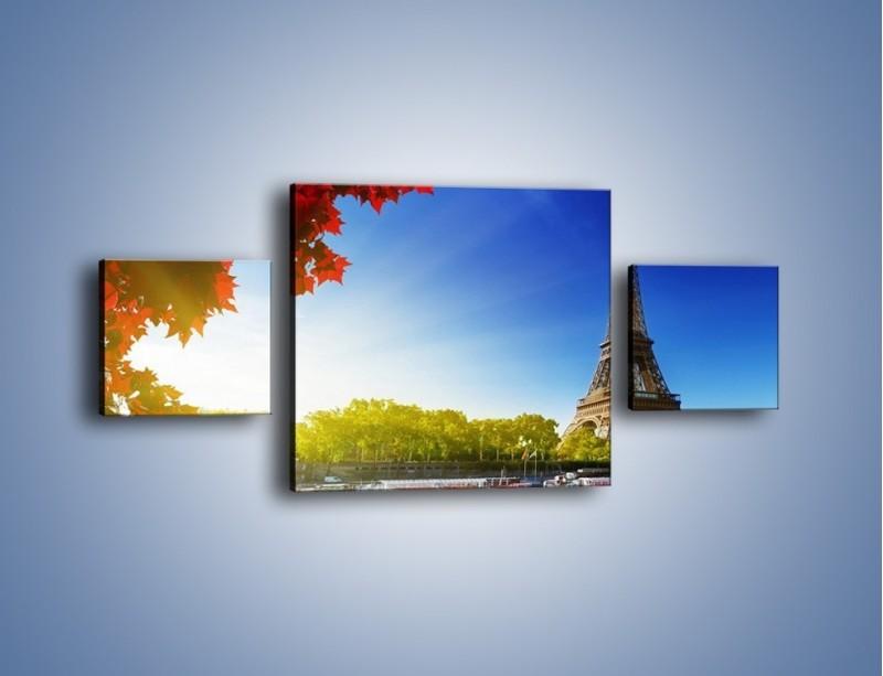 Obraz na płótnie – Wieża Eiffla w piękny dzień – trzyczęściowy AM373W4