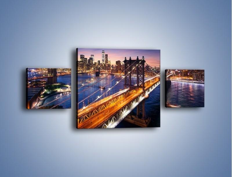Obraz na płótnie – Zachodzące słońce nad Manhattanem – trzyczęściowy AM377W4
