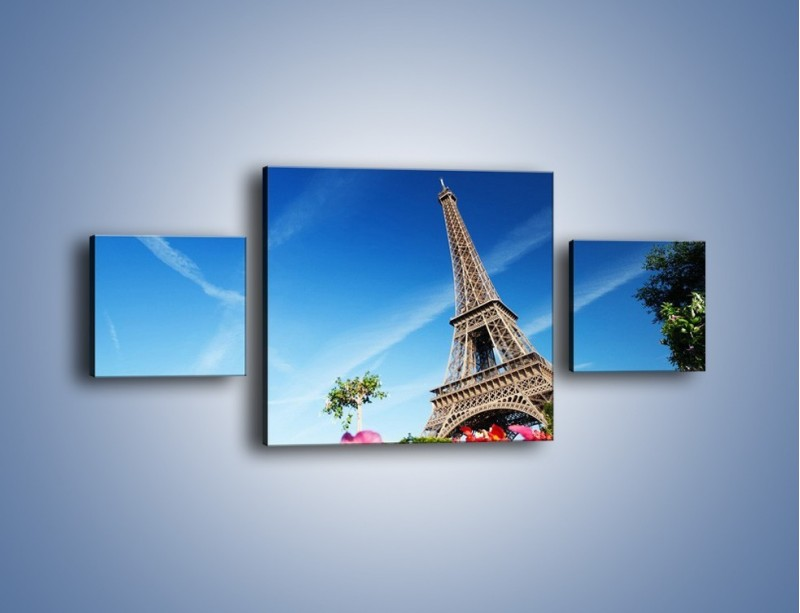 Obraz na płótnie – Wieża Eiffla pod błękitnym niebem – trzyczęściowy AM379W4
