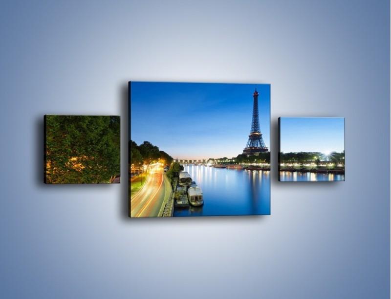 Obraz na płótnie – Zapadający zmrok w Paryżu – trzyczęściowy AM385W4