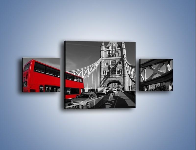 Obraz na płótnie – Tower Bridge i czerwony autobus – trzyczęściowy AM394W4