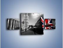 Obraz na płótnie – Big Ben i autobus z flagą UK – trzyczęściowy AM396W4