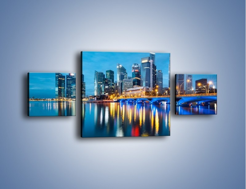 Obraz na płótnie – Kolorowe światła Singapuru – trzyczęściowy AM408W4