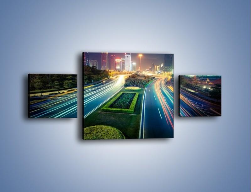 Obraz na płótnie – Uliczne światła Szanghaju – trzyczęściowy AM409W4