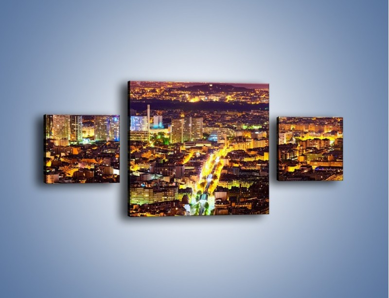 Obraz na płótnie – Kolory Paryża nocą – trzyczęściowy AM419W4