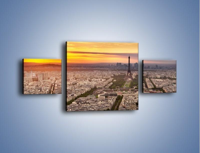 Obraz na płótnie – Zachód słońca nad Paryżem – trzyczęściowy AM420W4