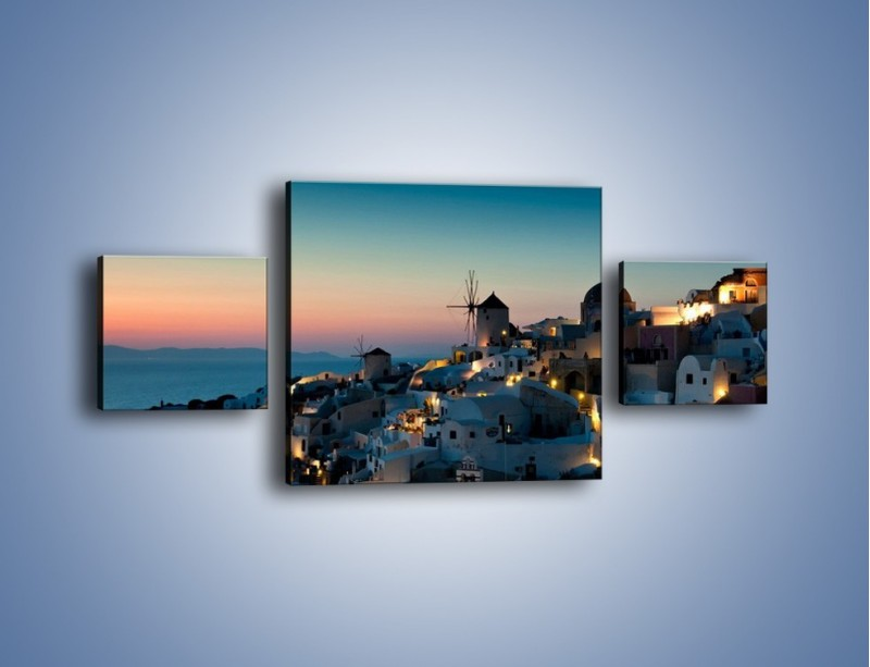 Obraz na płótnie – Domki na Santorini po zmierzchu – trzyczęściowy AM421W4