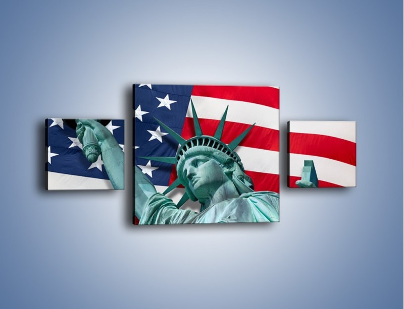 Obraz na płótnie – Statua Wolności na tle flagi USA – trzyczęściowy AM435W4