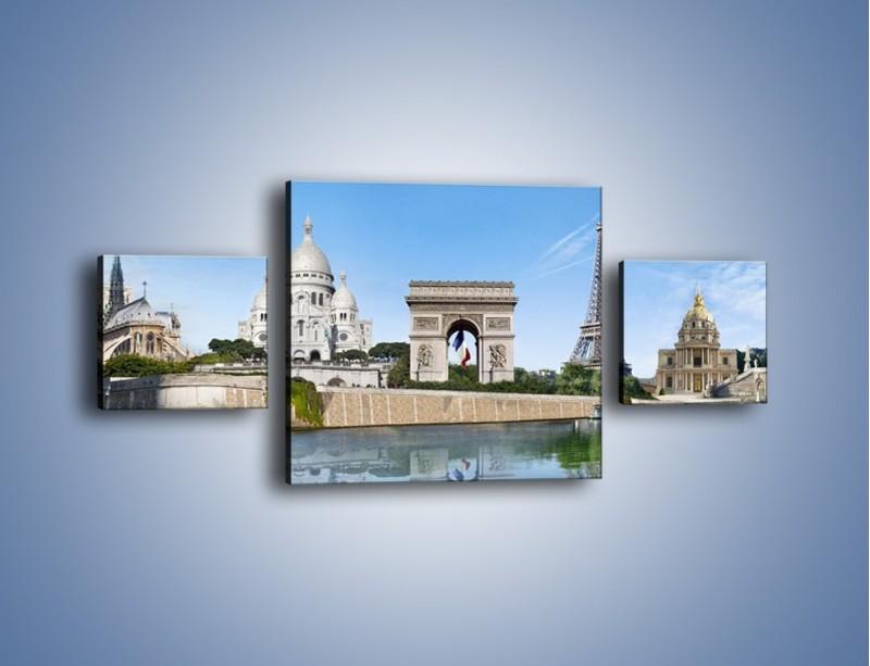 Obraz na płótnie – Atrakcje turystyczne Paryża – trzyczęściowy AM448W4