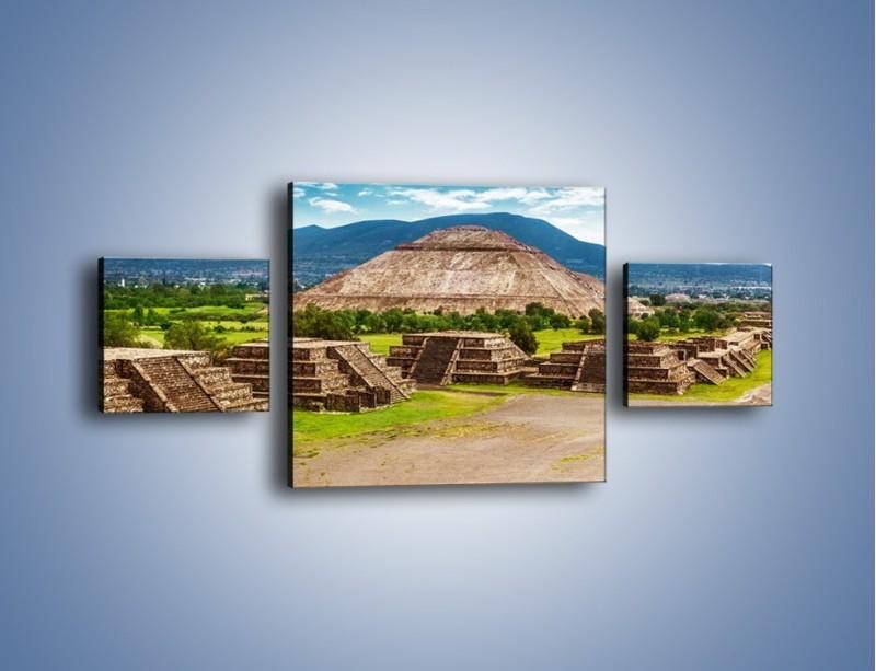 Obraz na płótnie – Piramida Słońca w Meksyku – trzyczęściowy AM450W4