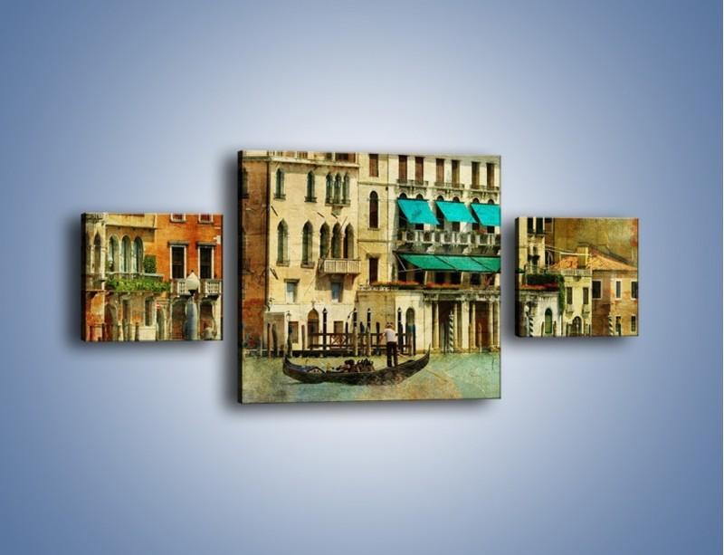 Obraz na płótnie – Weneckie domy w stylu vintage – trzyczęściowy AM459W4
