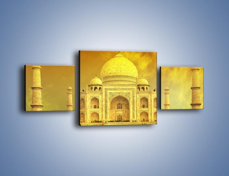 Obraz na płótnie – Tadź Mahal w żółtym kolorze – trzyczęściowy AM465W4