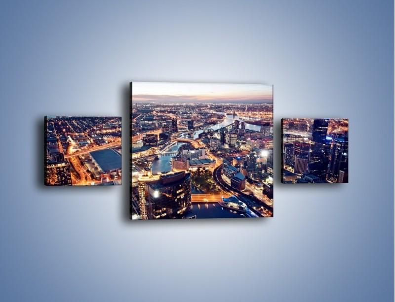 Obraz na płótnie – Panorama Melbourne po zmierzchu – trzyczęściowy AM470W4