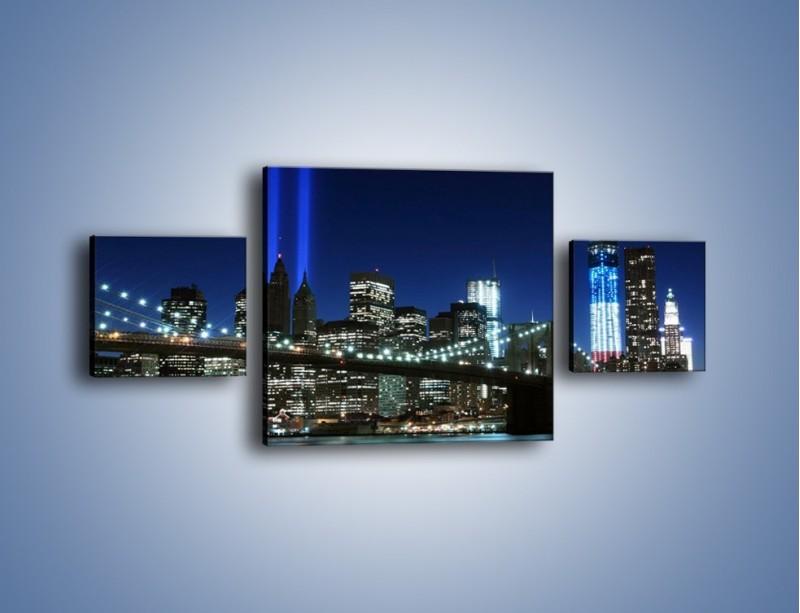 Obraz na płótnie – Most Brookliński nocą – trzyczęściowy AM476W4