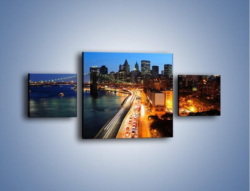 Obraz na płótnie – Manhattan wieczorową porą – trzyczęściowy AM477W4
