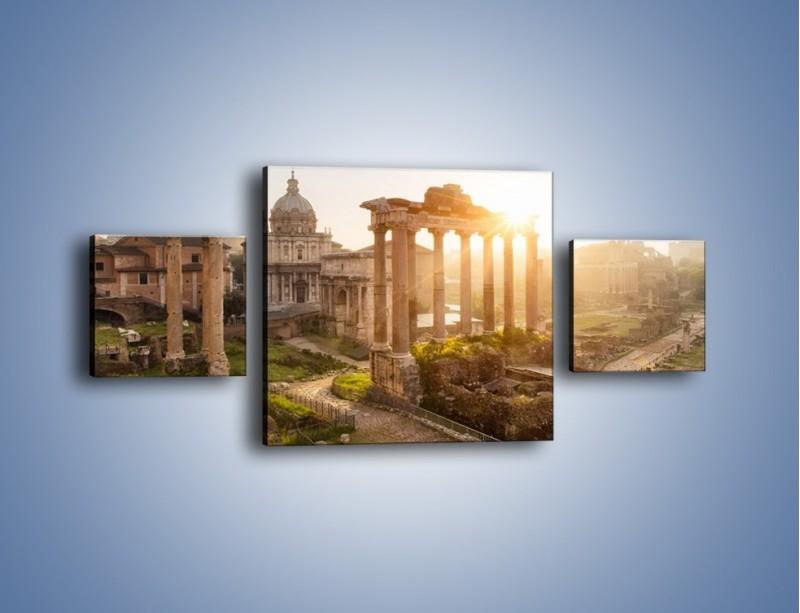 Obraz na płótnie – Rzymskie ruiny o zachodzie słońca – trzyczęściowy AM480W4