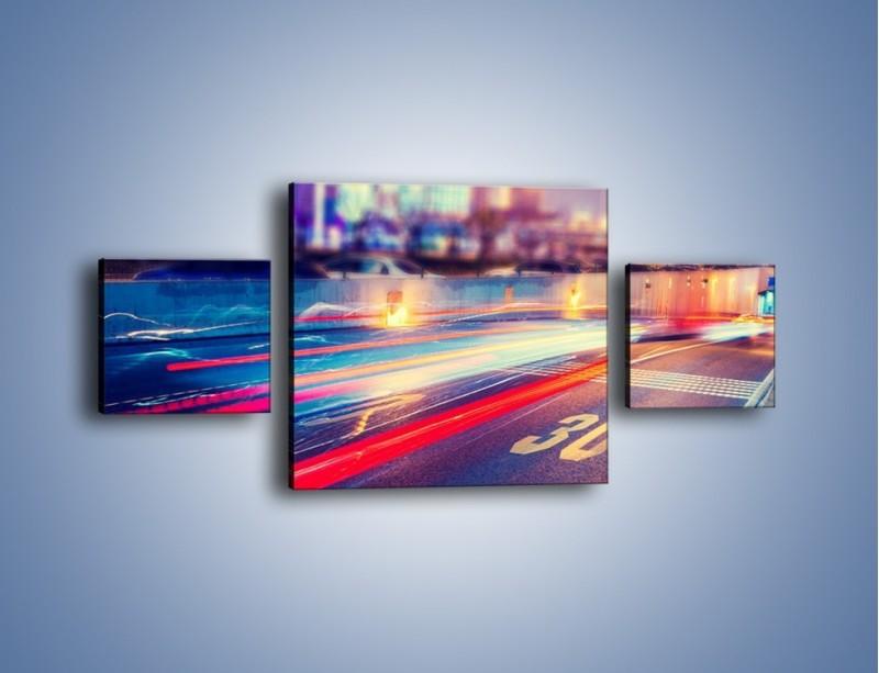 Obraz na płótnie – Ulica w ruchu świateł samochodowych – trzyczęściowy AM482W4