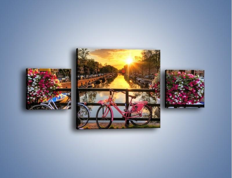 Obraz na płótnie – Zachód słońca nad amsterdamskim kanałem – trzyczęściowy AM483W4