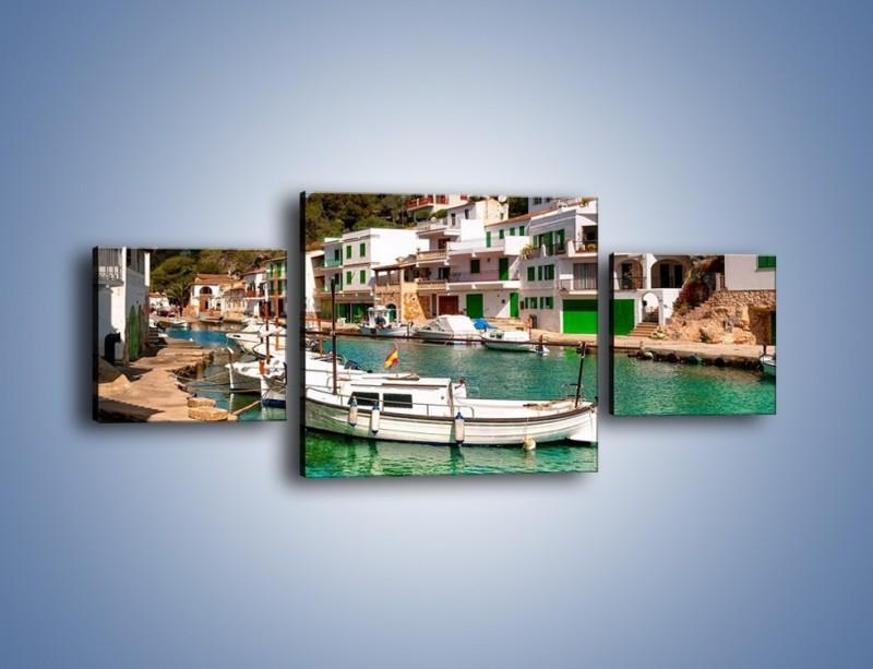 Obraz na płótnie – Domki nad wodą na Majorce – trzyczęściowy AM484W4