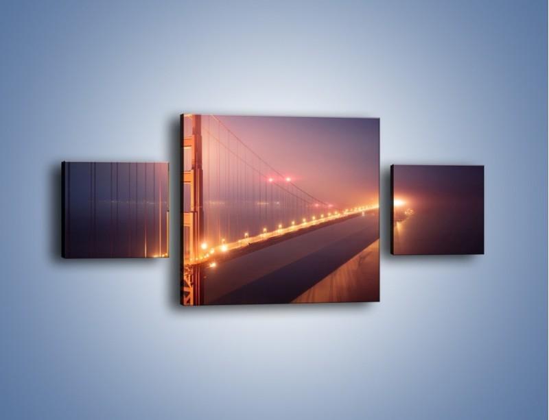 Obraz na płótnie – Most Golden Gate w nocnej mgle – trzyczęściowy AM490W4