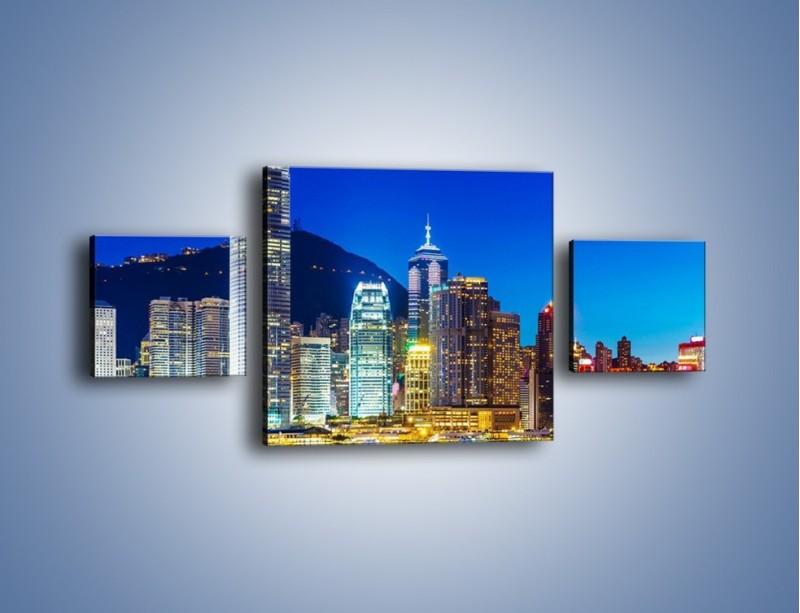 Obraz na płótnie – Oświetlone wieżowce Hong Kongu – trzyczęściowy AM498W4