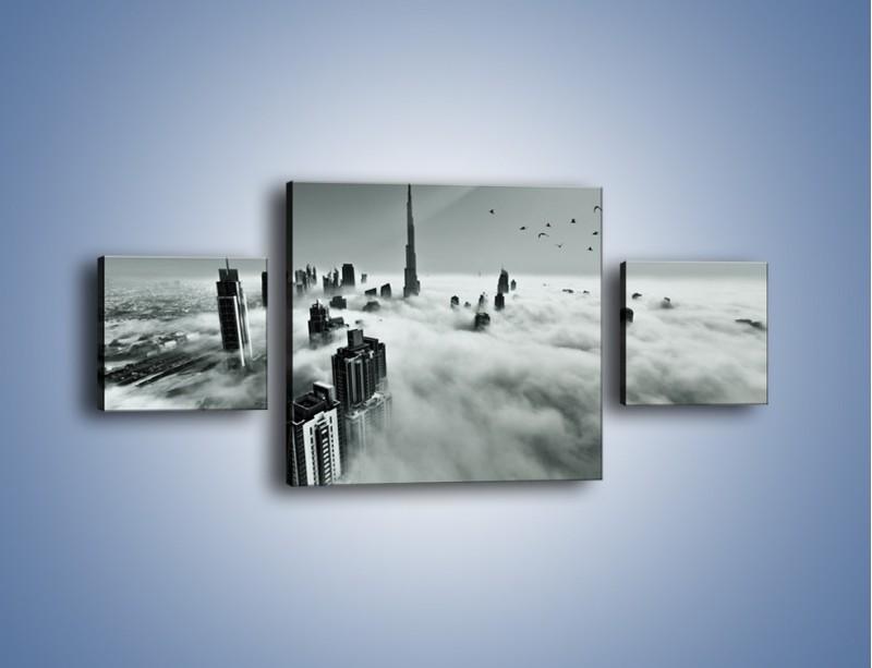 Obraz na płótnie – Centrum Dubaju we mgle – trzyczęściowy AM502W4