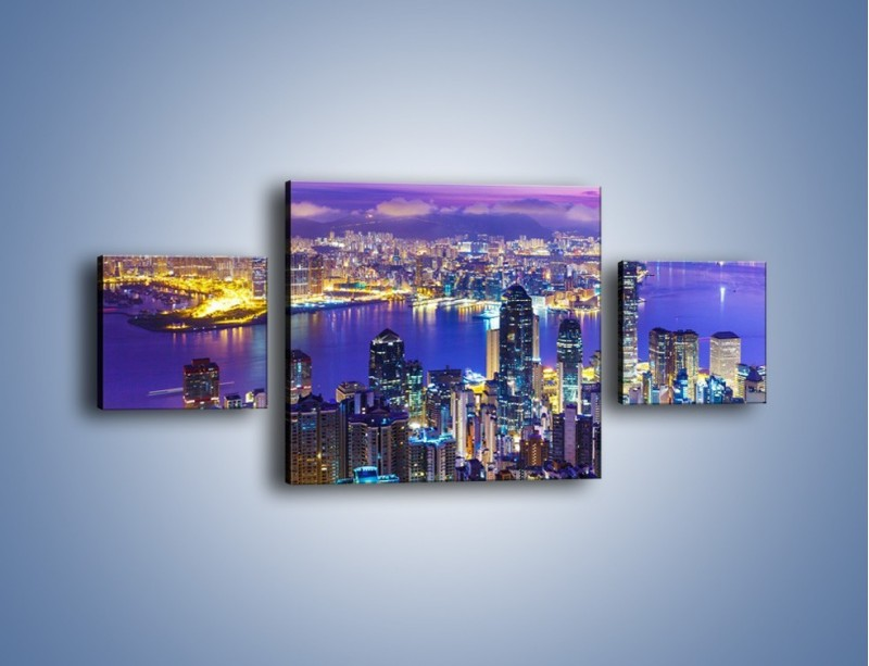 Obraz na płótnie – Wieczorna panorama Hong Kongu – trzyczęściowy AM505W4