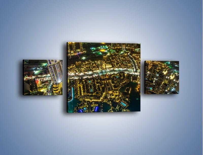 Obraz na płótnie – Dubaj nocą z lotu ptaka – trzyczęściowy AM507W4