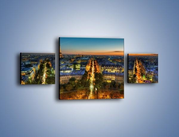 Obraz na płótnie – Rozświetlony Paryż wieczorową porą – trzyczęściowy AM549W4