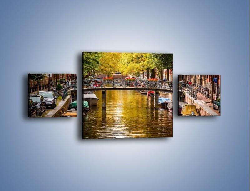 Obraz na płótnie – Most nad amsterdamskim kanałem – trzyczęściowy AM552W4