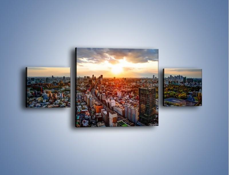 Obraz na płótnie – Panorama miasta o zachodzie słońca – trzyczęściowy AM587W4