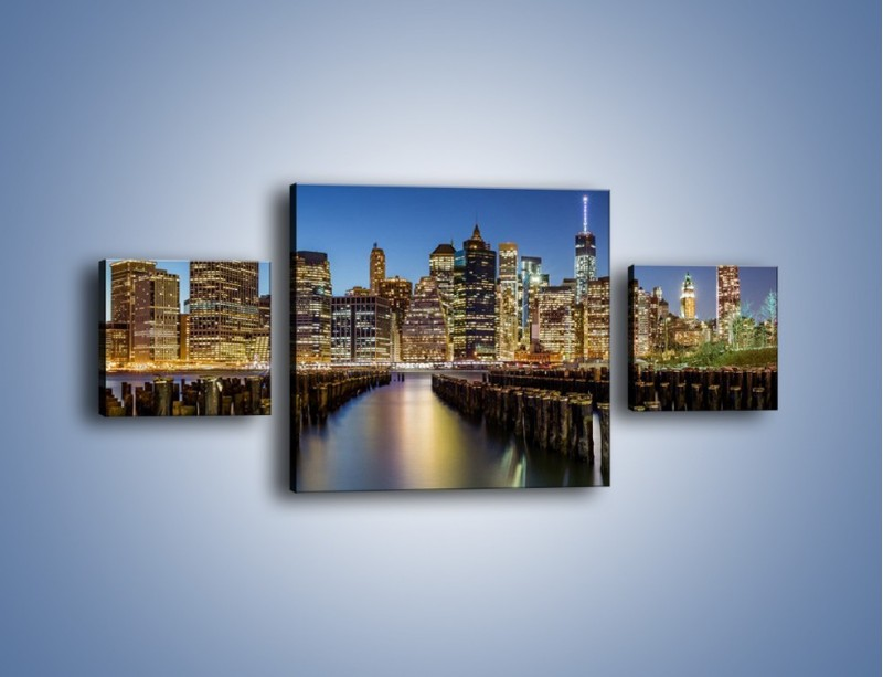 Obraz na płótnie – Zniszczone molo i widok na Manhattan – trzyczęściowy AM601W4