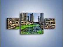 Obraz na płótnie – Chicago River w Dzień św. Patryka – trzyczęściowy AM605W4