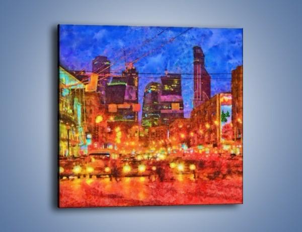 Obraz na płótnie – Uliczne światła nocą – jednoczęściowy kwadratowy GR556