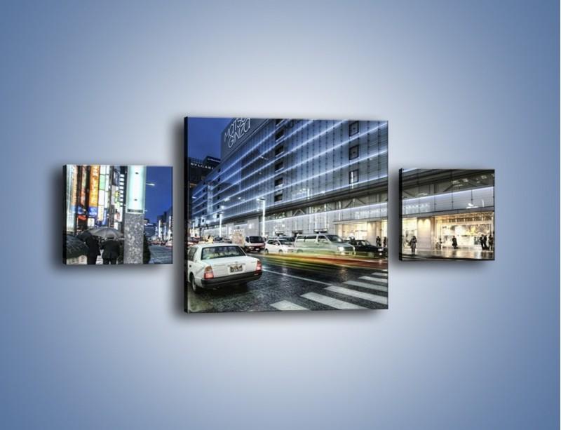 Obraz na płótnie – Ulica Tokyo w deszczu – trzyczęściowy AM613W4