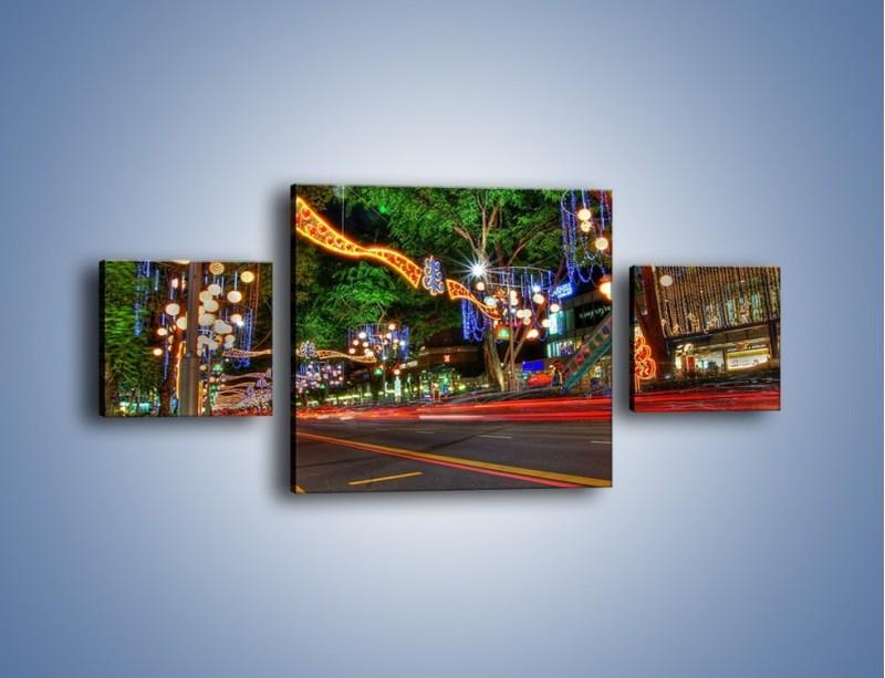 Obraz na płótnie – Noworoczne dekoracje w Singapurze – trzyczęściowy AM616W4