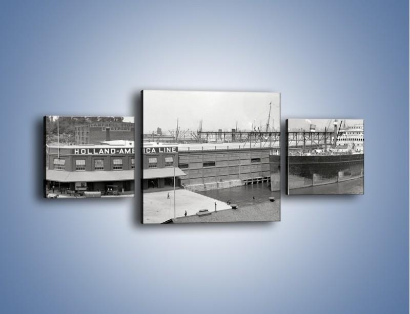 Obraz na płótnie – Amerykańskie doki na początku XX wieku – trzyczęściowy AM641W4