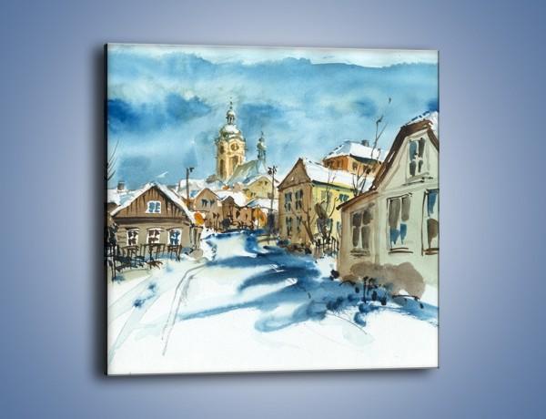 Obraz na płótnie – Miasto uśpione zimą – jednoczęściowy kwadratowy GR557