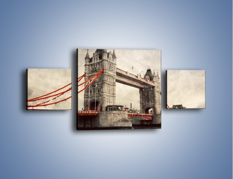 Obraz na płótnie – Tower Bridge w stylu vintage – trzyczęściowy AM668W4