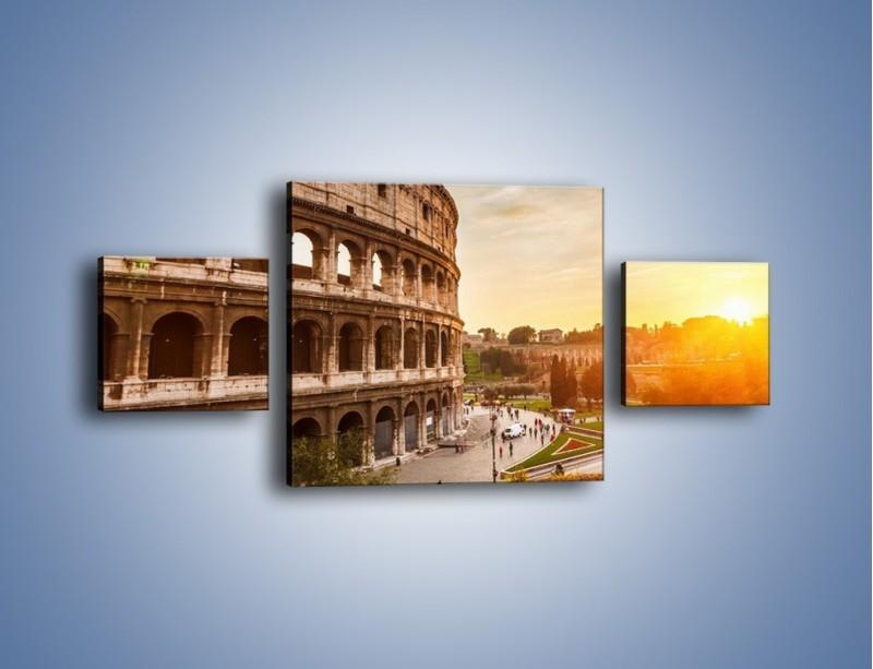 Obraz na płótnie – Rzymskie Koloseum o zachodzie słońca – trzyczęściowy AM684W4